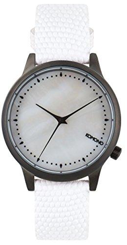 Komono Damen Quarzuhr Armbanduhr Quarzuhrwerk mit Mutter von Pearl Zifferblatt Analog Anzeige und Weiss Lederband kom w2701