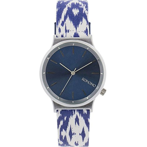 Komono kom w1835 Armbanduhr Quarzuhrwerk Wizard Print Unisex Edelstahl Fall Multi Leather Blue Dial Silber Armbanduhr