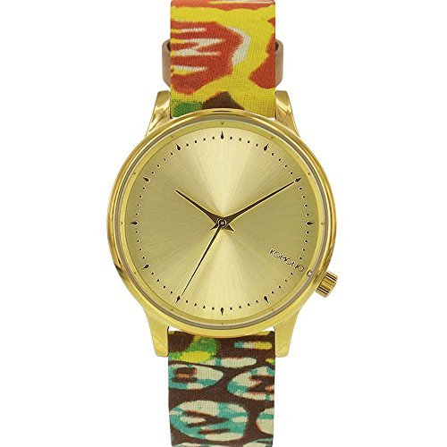 Komono kom w2851 Armbanduhr Quarzuhrwerk Estelle vlisco Damen Edelstahl Fall Multi Leather Gold Watch
