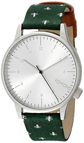 Komono Quarzuhrwerk Quarz Uhr mit Silber Zifferblatt Analog Display und Gruen Lederband kom w2163