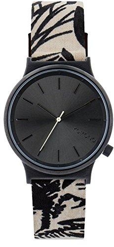 Komono Unisex Quarzuhr mit schwarzem Zifferblatt Armbanduhr Quarzuhrwerk Analog Anzeige und Lederband kom w1838