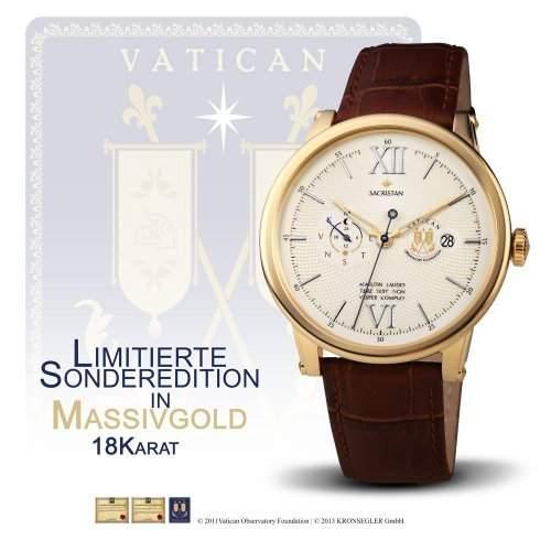 "Vatikan Observatorium Uhrenserie ""Sacristan"" - Automatikuhr Massivgold Altgelb Limit"
