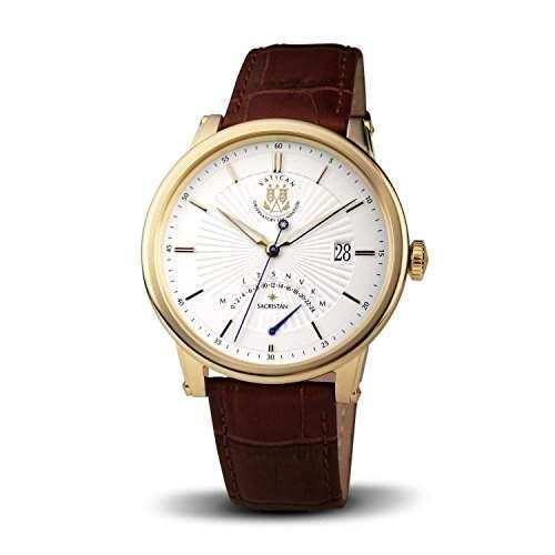 "Vatikan Observatorium Uhrenserie ""Sacristan"" - Herrenquarzuhr vergoldet-weiss"