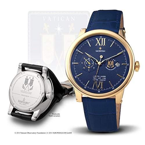 "Vatikan Observatorium Uhrenserie ""Sacristan"" - Handaufzugsuhr vergoldet-blau"