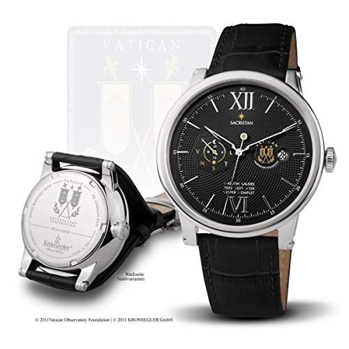 "Vatikan Observatorium Uhrenserie ""Sacristan"" - Automatikuhr stahl-schwarz"