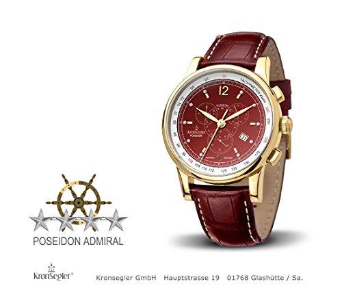 Kronsegler Admiral Diamant Chronograph vergoldet bordeaux