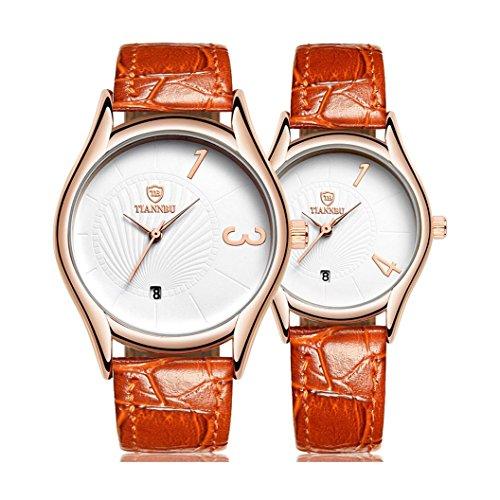 Couple Wristwatch Kingwo Hands Fashionable Couple Wristwatches Ultrathin Leather Romantic Couple Wrist Quartz Watches for Couples Men Women Set of For Valentines Day Christmas Orange
