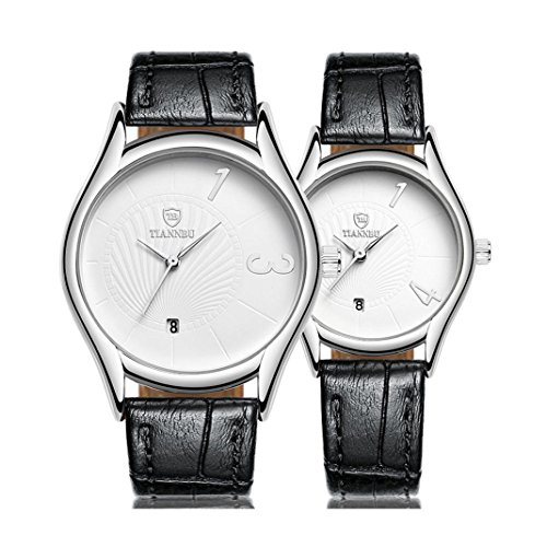 Couple Wristwatch Kingwo Hands Fashionable Couple Wristwatches Ultrathin Leather Romantic Couple Wrist Quartz Watches for Couples Men Women Set of For Valentines Day Christmas White