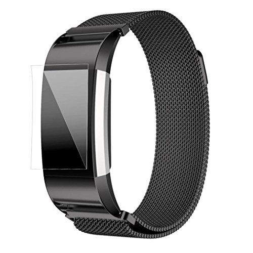 Fitbit Strap Bands Kingwo Milanese Edelstahl Uhrenarmband Armband HD Film Armbanduhr Ersatzband fuer Fitbit Charge 2 Schwarz