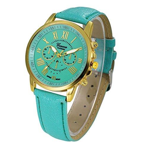 Frauen Armbanduhr Kingwo Neue Damenmode Genf Roemische Ziffern Faux Leder Analog Quarz Armbanduhr tadelloses Gruen