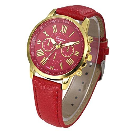 Frauen Armbanduhr Kingwo Neue Damenmode Genf Roemische Ziffern Faux Leder Analog Quarz Armbanduhr Rot