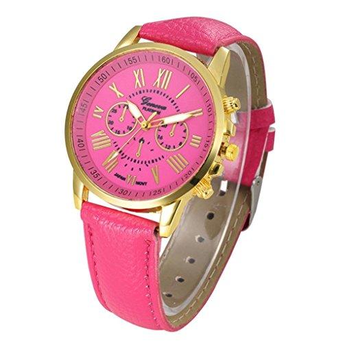 Frauen Armbanduhr Kingwo Neue Damenmode Genf Roemische Ziffern Faux Leder Analog Quarz Armbanduhr Pink