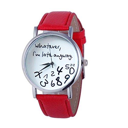 Frauen Armbanduhr Kingwo 1PC Hot Damen Leder Uhr Was auch immer ich bin spaet Anyway Brief Uhren rot