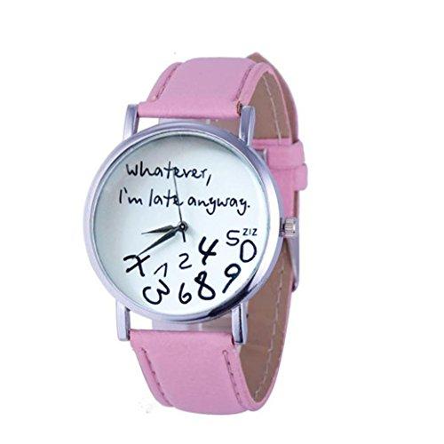 Frauen Armbanduhr Kingwo 1PC Hot Damen Lederuhr Was auch immer ich bin Late Anyway Brief Uhren Rosa