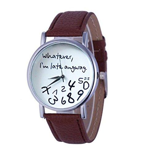 Frauen Armbanduhr Kingwo 1PC Hot Damen Lederuhr Was auch immer ich bin Late Anyway Brief Uhren braun