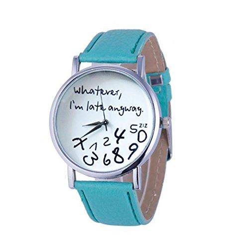 Frauen Armbanduhr Kingwo 1PC Hot Damen Lederuhr Was auch immer ich bin Late Anyway Buchstaben Uhren gruen