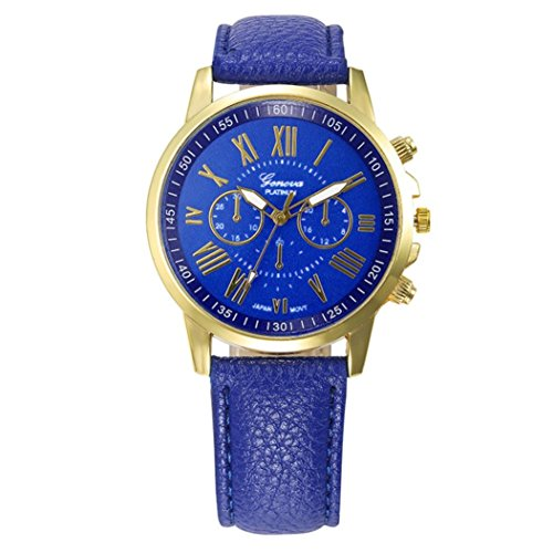 Frauen Armbanduhr Kingwo Neue Frauen Mode Genf Roemische Ziffern Faux Leder Analog Quarz Armbanduhr