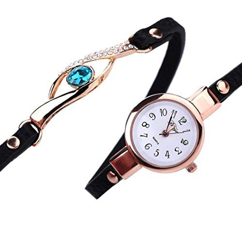 Frauen Armbanduhr Kingwo Art und Weisefrauen Diamant Verpackung um Leatheroid Quarz Armbanduhr