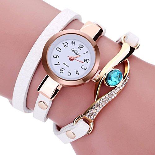 Frauen Armbanduhr Kingwo Art und Weisefrauen Diamant Verpackung um Leatheroid Quarz Armbanduhr g um Leatheroid Quarz Armbanduhr Weiss