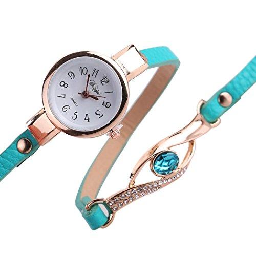 Frauen Armbanduhr Kingwo Art und Weisefrauen Diamant Verpackung um Leatheroid g um Leatheroid Gruen