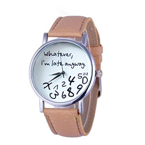 Frauen WriST Uhr Kingwo 1PC Hot Damen Lederuhr Was auch immer ich bin spaet Anyway Briefuhren Beige