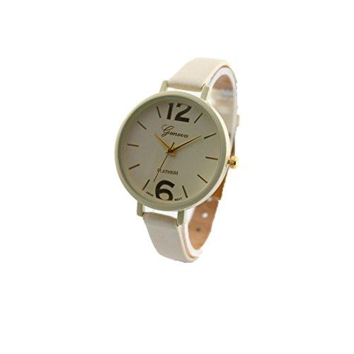 Frauenuhr Kingwo Genf Damen Kunstleder Analog Quartz Armbanduhr Beige