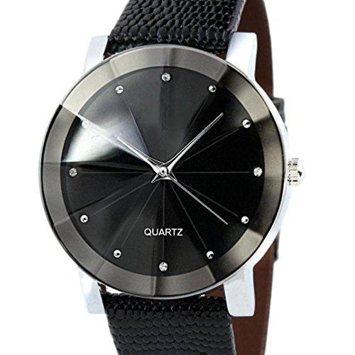 Herren Armbanduhr Kingwo Luxus Quarz Sport Militaer Edelstahl Zifferblatt Lederband Armbanduhr Herren schwarz