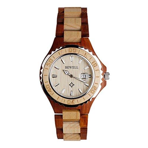 Hoelzerne Uhren Kingwo Retro Uhren BEWELL Hoelzerne Uhr Mann Quarz mit leuchtenden Haenden 30M Wasser Widerstand Ahornholz