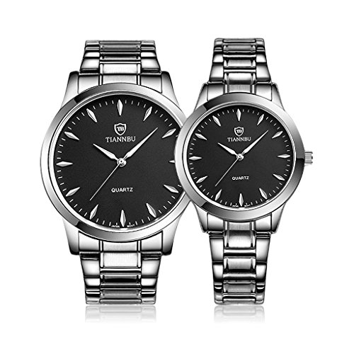 Lovers Wristwatch Kingwo Stainless Steel Band Fashionable Glowing Hands Couple His and Her Wristwatches for Wedding Anniversary Valentines Day Birthday Christmas Black