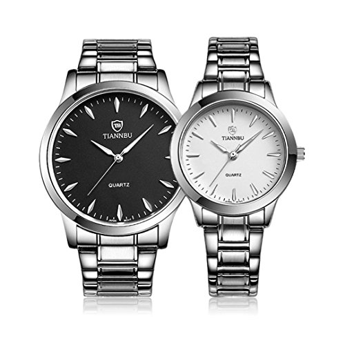 Lovers Wristwatch Kingwo Stainless Steel Band Fashionable Glowing Hands Couple His and Her Wristwatches for Wedding Anniversary Valentines Day Birthday Christmas Black White