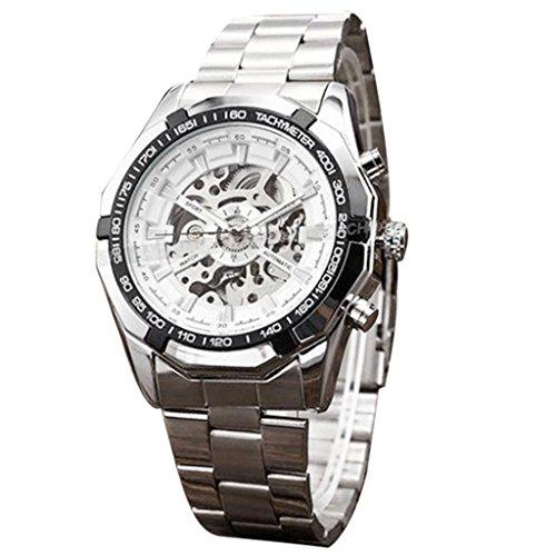 Maenner Armbanduhr Kingwo Steampunk Uhr automatische mechanische Mann Armbanduhr Militaer Art Maenner Armbanduhren weiss