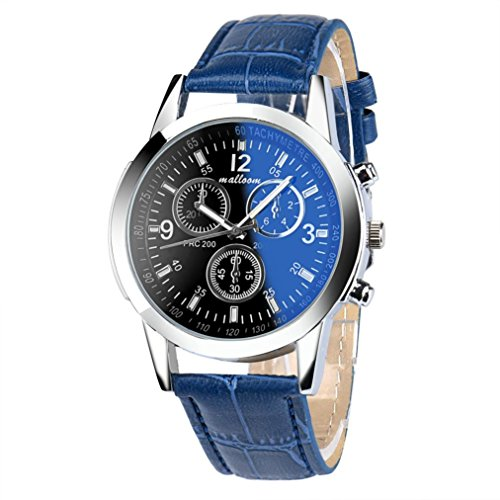 Man Mode Uhren Kingwo Luxus Mode Faux Leder Herren Blue Ray Glas Quarzuhren Analog Blau
