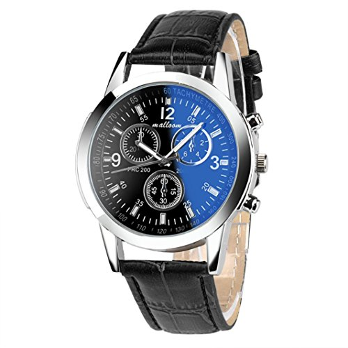 Man Mode Uhren Kingwo Luxus Mode Faux Leder Mens Blue Ray Glas Quarzuhren Analog Schwarz