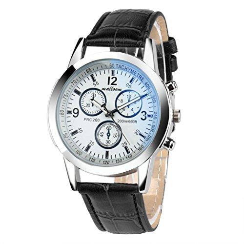 Man Mode Uhren Kingwo Luxus Mode Faux Leder Mens Blue Ray Glas Quarzuhren Analog Schwarz2