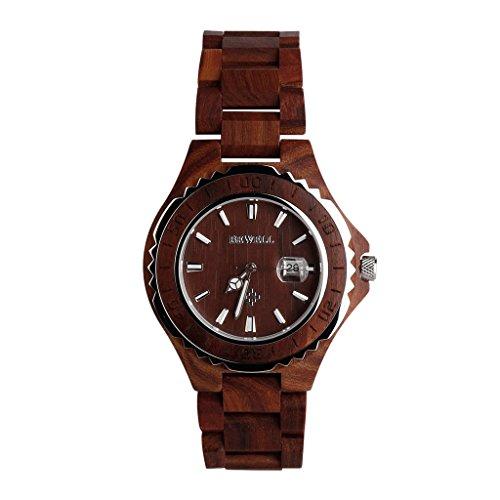 Wooden Uhren Kingwo Retro Uhren BEWELL Wooden Watch Herren Quarz mit leuchtenden Haenden 30M Wasserdichtigkeit rotem Sandelholz