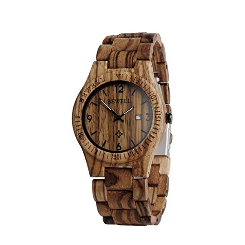Wooden Watches Kingwo Retro Watches Bewell ZSW086B Wood Mens Analogue Quartz Movement Day Display Lightweight Vintage For Birthday Anniversary Fathers Day or Valentines Day Zebrawood
