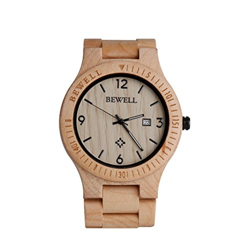 Wooden Watches Kingwo Retro Watches Bewell ZSW086B Wood Mens Analogue Quartz Movement Day Display Lightweight Vintage For Birthday Anniversary Fathers Day or Valentines Day Maplewood