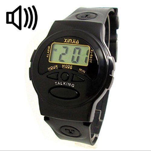Sprechende Armbanduhr fuer Menschen mit schlechter Sicht Digital Franzoesisch fuer Blinde gut wahrnehmbarer Ton Geschenk Idee