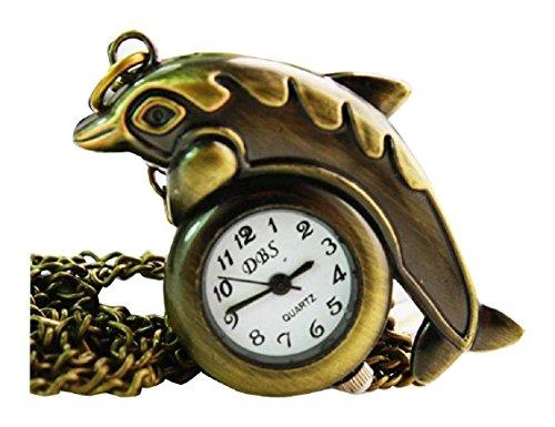 New Dolphin Taschenuhr Pocket Watch Chain Necklace Alloy Uhren watches WPH KTW144743A