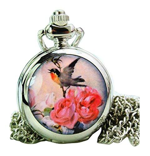 New fashion Taschenuhr Pocket Watch with mirror Chain Necklace Alloy Uhren watches WPH KTW150665B