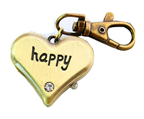 New happy heart shaped keyring Buckle Watch key chain Alloy Antique Bronze Uhren watches WPH KTW147393A