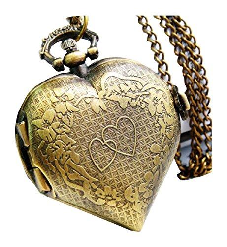 New Heart shaped Taschenuhr Pocket Watch Chain Necklace Alloy Antique Bronze Uhren watches WPH KTW144421A