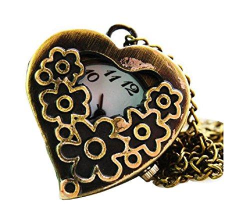New heart shaped Taschenuhr Pocket Watch Chain Necklace Alloy Antique Bronze Uhren watches WPH KTW150184A