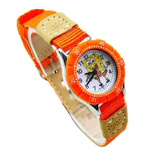 NEW Lovely SpongeBob SquarePants children kids Kinder cartoon Watches Uhren Textile Watch Band WP KTW151610O