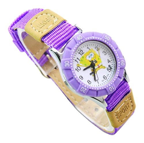 NEW Lovely SpongeBob SquarePants children kids Kinder cartoon Watches Uhren Textile Watch Band WP KTW151610Z
