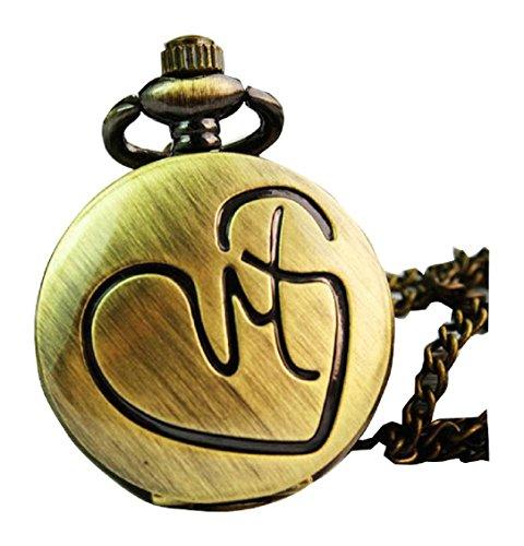 New Taschenuhr Pocket Watch Chain Necklace Alloy Antique Bronze Uhren watches WPH KTW142942A
