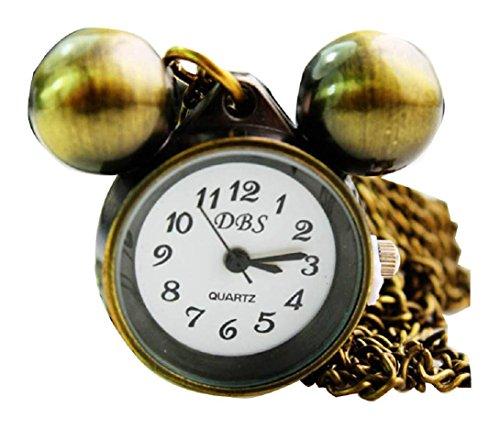 New Mickey Taschenuhr Pocket Watch Chain Necklace Alloy Antique Bronze Uhren watches WPH KTW144746A
