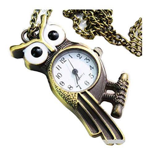 New owl Taschenuhr Pocket Watch Chain Necklace Alloy Antique Bronze Uhren watches WPH KTW146313A