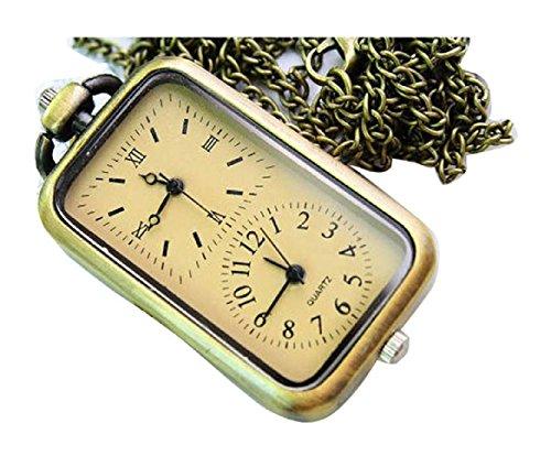 New Two movement Taschenuhr Pocket Watch Chain Necklace Alloy Antique Bronze Uhren watches WPH KTW146575A