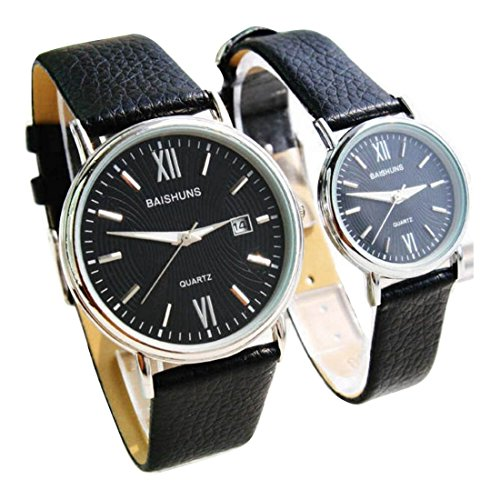 2 Pcs Watches Couple Lovers Mens Lady Women Quartz leather Wrist Uhren WPX KTW150307B